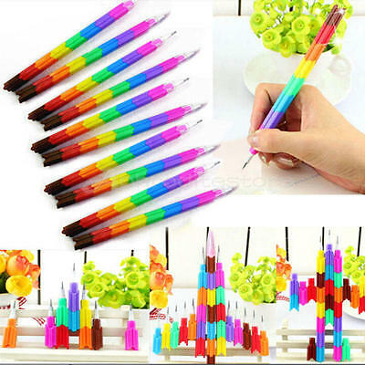 10X Colorful Stackable Pencil Kids Children Writing School Students Stationery