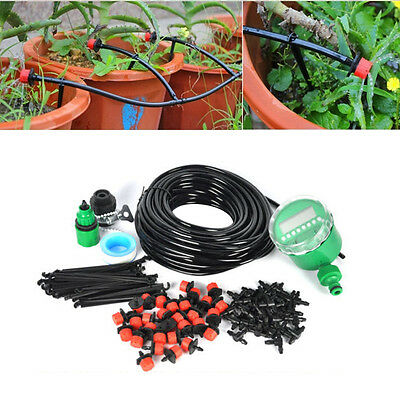 25m Water IRRIGATION Kit Timer Auto Micro Drip Watering Plant System Garden Hose
