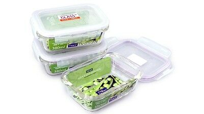 Lock and Lock Set of 3 Euro Glass Rectangular Food Storage Containers
