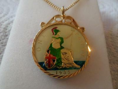 Vintage Enamelled One Penny Coin Pendant & Necklace 1935. Birthday Xmas Present
