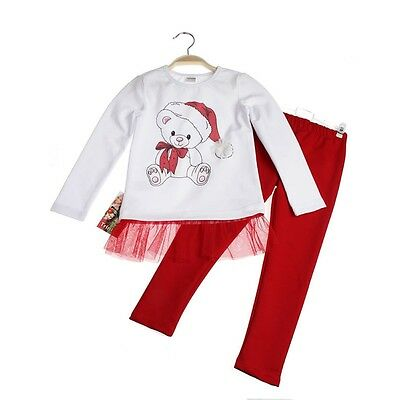 Girls Christmas Outfit Tunic and Leggings Set/Santa Teddy Age 5 years - 8 years