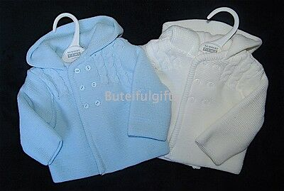 Baby Boy Blue White Warm Knitted Hooded Pram Jacket/Cardigan NB 0-3 3-6 Month