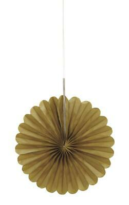 "Gold 6"" Hanging Paper Fan Party Decorations x 3"