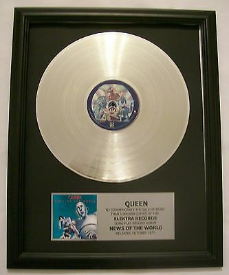 QUEEN News of the World Platinum / White Gold Plated LP Record w/Mini Album Disk