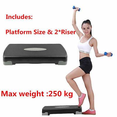 Aerobic Step Fitness Board Exercise Stepper Platform Block & 2 FREE pairs risers