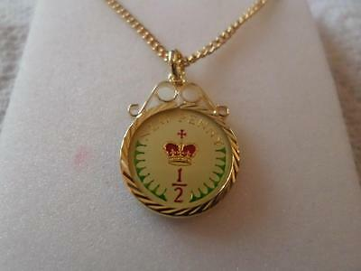 Vintage Half Penny Coin 1974 Enamelled Pendant & Necklace. Birthdate Jewelry