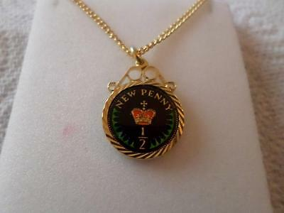 Vintage Half Penny Coin 1979 Enamelled Pendant & Necklace. Birthdate Jewelry
