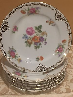 Vintage Rose China Bread& Butter Plates Made Occupied Japan Floral Gold Scroll