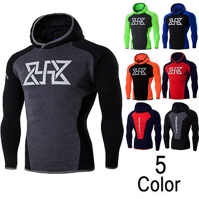 Mens Base Layer Workout Running Gym Fitness Yoga Sports Clothes Hooded Hoodies