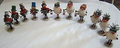 11 Antique Pinecone Santas And Carollers Band Members - Very Old