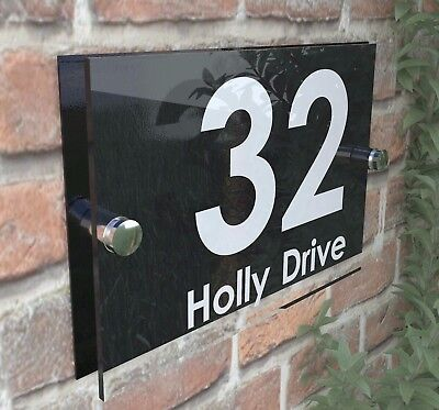 Contemporary HOUSE SIGN / PLAQUE / DOOR / NUMBERS / GLASS EFFECT ACRYLIC
