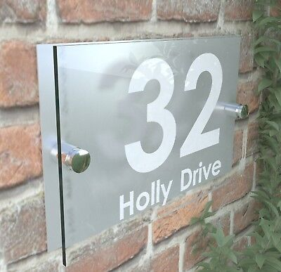 Modern House Signs Door Plaques Number Acrylic Pcs Steel Perspex Free P&P