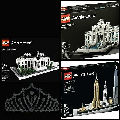 LEGO Architecture Sets 500-800pcs New York City Trevi Fountain Same Day Shipping