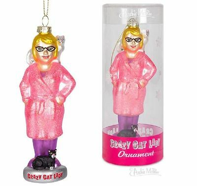 Crazy Cat Lady Christmas Ornament Tall Glass In Illustrated Tube - Archie McPhee