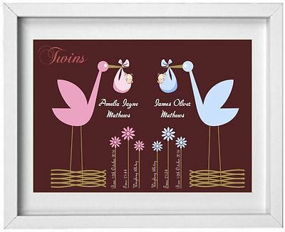 BABY TWINS | Personalised Picture | New Baby | Gift | FREE POST | (NP113)