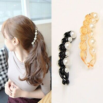 Beautiful Simulated Pearls Hair clips Banana Clips claw clamps for women & girls