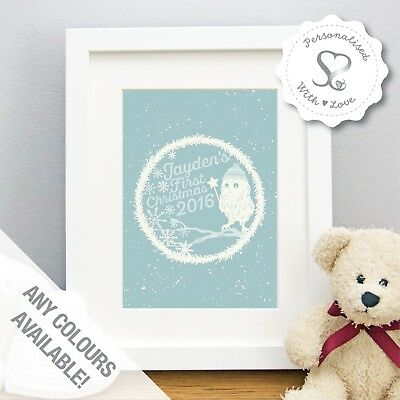 Personalised Cute Little Owl Babys Boys Girls First Christmas Print/Framed Print
