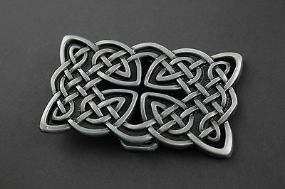 Rectangular Celtic Knot With Cut Out Metal Belt Buckle  Scottish Gaelic