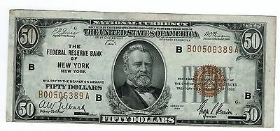 1929 National Currency FRB New York Fr1880B $50 Choice VF