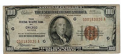 1929 National Currency FRB Chicago Fr1890G $100 F