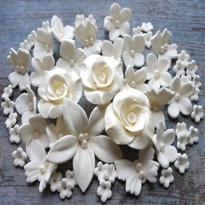 60 Edible sugar roses butterflies flowers cake cupcake toppers decorations