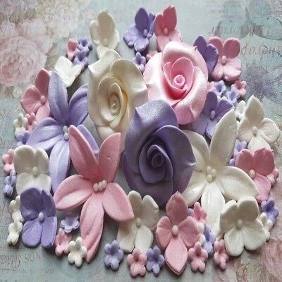 78 Edible sugar roses lilies hydrangea flowers cake cupcake toppers decorations