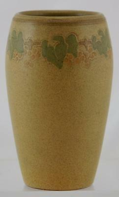 "Marblehead 5.5"" Vase Decorated Carved Vineyard Motif In Matte Mustard Glaze Mint"