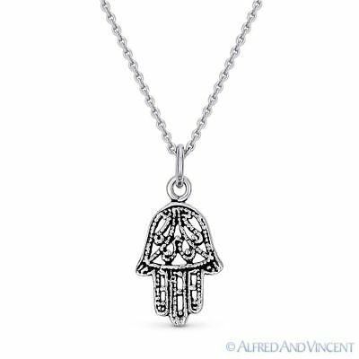 Hamsa Hand Evil Eye Luck Charm Necklace Pendant in Oxidized .925 Sterling Silver