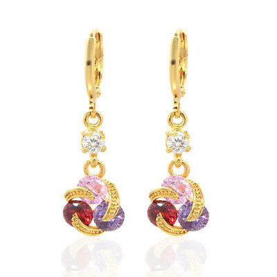 18K Gold Plated Women Colorful Cubic Zirconia Dangle Drop Earrings Jewelry