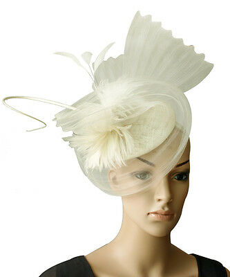 Cream Ivory Fascinator Feathers Quill Hat Races Wedding Millinery Derby Day