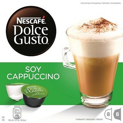 NESCAFE Dolce Gusto Soy Cappuccino 8 Coffee and 8 Milk Pods Capsules