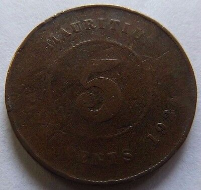 1924 Mauritius 5 Cents! Super Rare! Only 400,000 Minted! Super Rare!