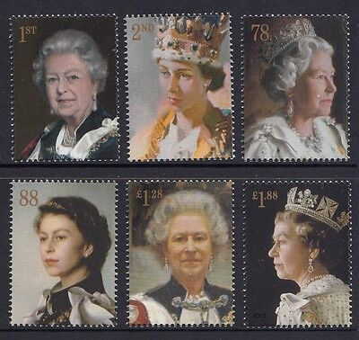 Great Britain 2013 6 Decades of Royal Portraits Stamp Set (GB3491)