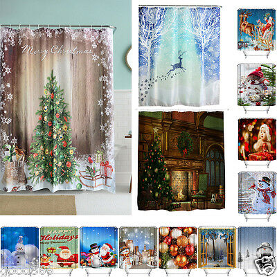 36 Color Christmas Waterproof Polyester Bathroom Shower Curtain Decor with Hooks
