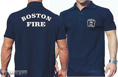Poloshirt navy, Boston Fire Dept., workshirt
