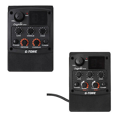 G-Tone GT-6 Acoustic Guitar Preamp Piezo Pickup 3-Band EQ Equalizer LCD Tuner PK