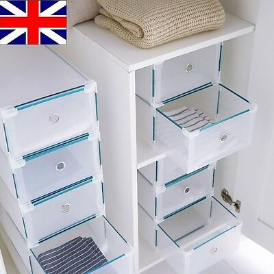 24 Foldable Plastic Shoe Boxes Organiser Drawer Stackable Storage Box Transparen