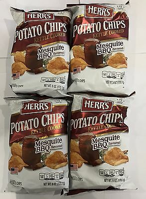 909748 4 x 170.1g BAGS OF HERR'S POTATO CHIPS - MESQUITE BBQ FLAVORED - USA