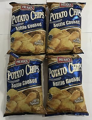 909714 4 x 170g BAGS OF HERR'S POTATO CHIPS - KETTLE COOKED - MADE IN THE USA!