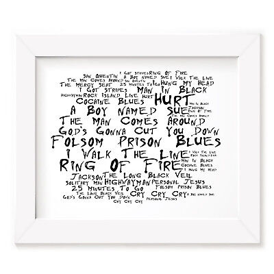 `Noir Paranoiac` JOHNNY CASH Art Print Typography Album Lyrics Signed Poster