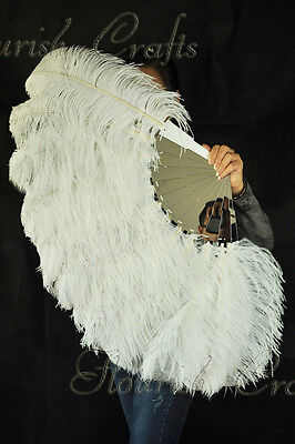 """single layer white Ostrich Feather Fan Burlesque  25""""x45"""" with mirror staves"""