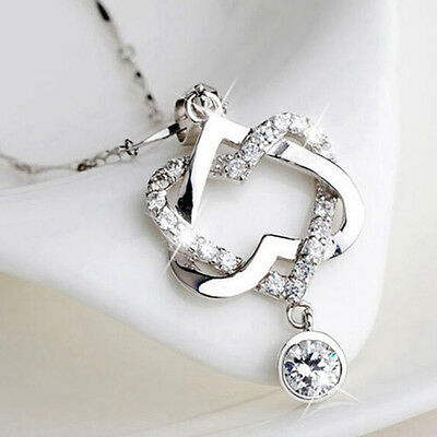 925 Sterling Silver Women Double Heart Pendant Necklace Sweater Chain Jewelry
