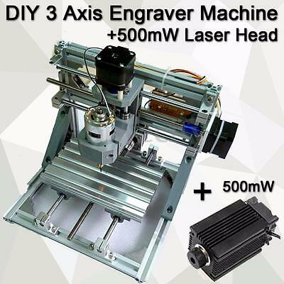 DIY 3 Axis Engraver Machine Milling Wood Carving Engraving + 500mW Laser Head