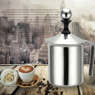 400ml Stainless Steel Milk Frother Cappuccino Coffee Frother Double Mesh New