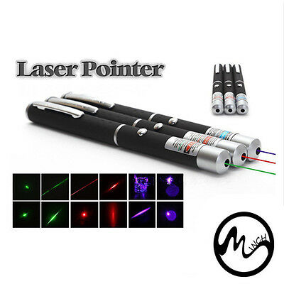 New 3pcs Powerful  5MW Green+Red+Purple Beam Laser Pointer Pen Visible Light