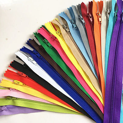 10pcs 20cm Red Nylon Coil Zippers Tailor Sewer Sewing Bags Accessories