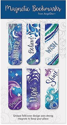 AngelStar Pack of 6 Galaxy Magnetic Bookmarks
