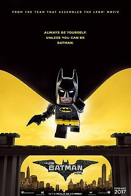 LEGO BATMAN MOVIE 2017 Advance Teaser DS 2 Sided 27X40 Movie Poster Will Arnett
