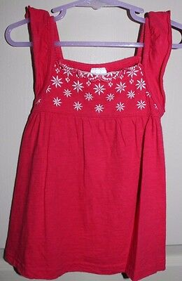 Dainty Red Top with White Embroidered Flowers - Size 3 - Target -