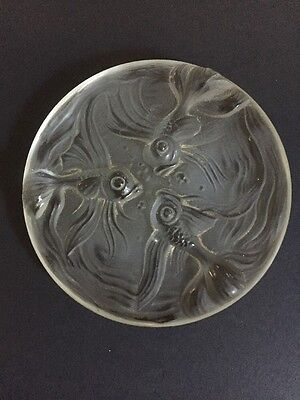 Vintage frosted Art Glass plaque Koi & Bubbles decorative item, sort of a plate